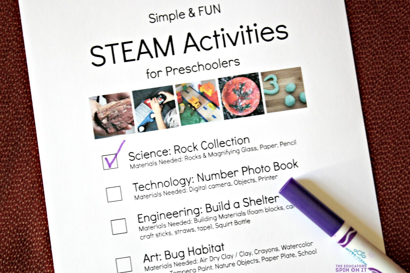 Free Printable STEAM Activity Checklist