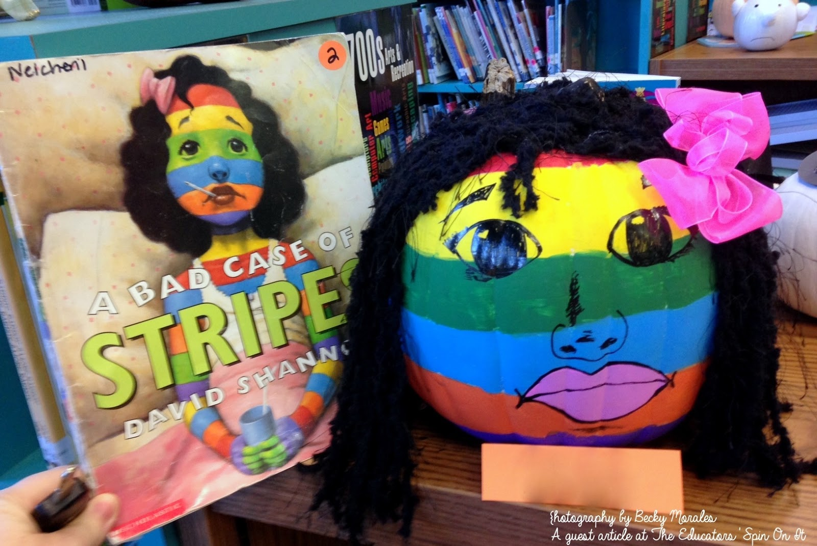 make the A Bad Case of Stripes inspired Story Book Pumpkin Character: