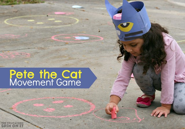 Pete the Cat Movement Game with girl using sidewalk chalk to draw buttons.