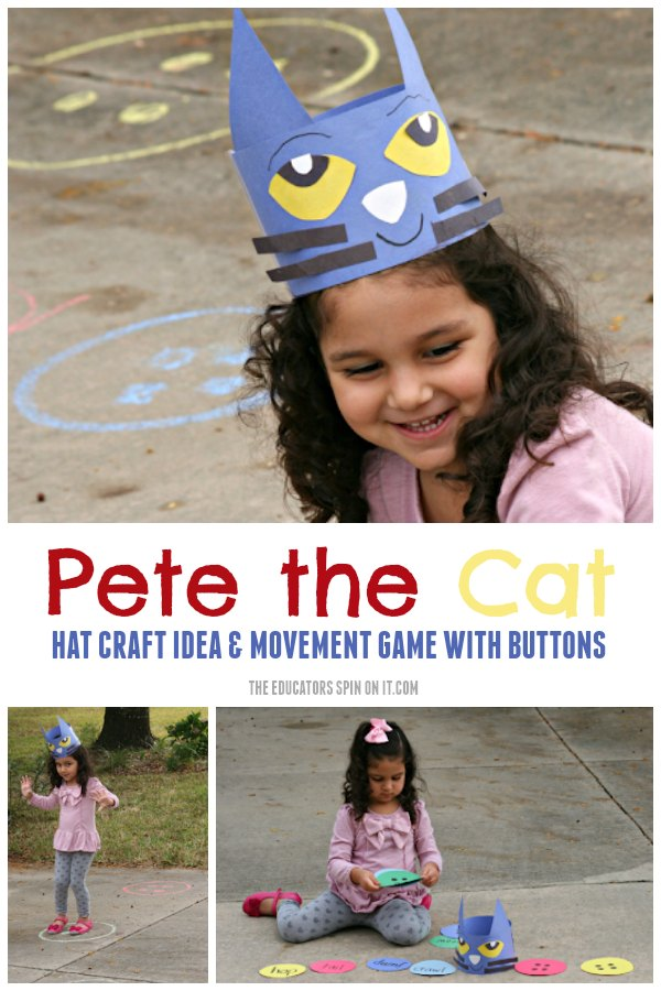 Child Playing Pete the Cat Movement Game with Sidewalk Chalk and Pete the Cat Hat Craft Idea using Construction Paper