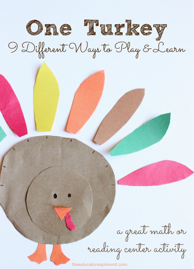 Easy to make turkey learning games and activities for kids for Thanksgiving preschool activities and crafts