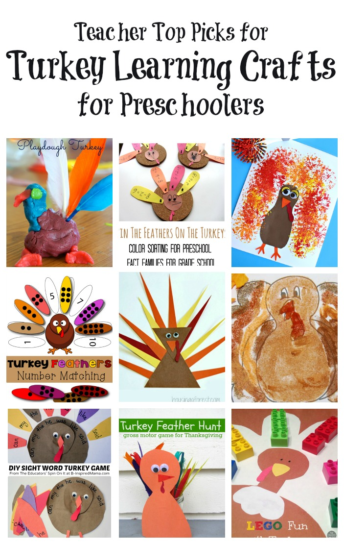 Top teacher picks for turkey crafts and turkey activities for preschool learning: sight words, numbers, shapes, colors, and more!