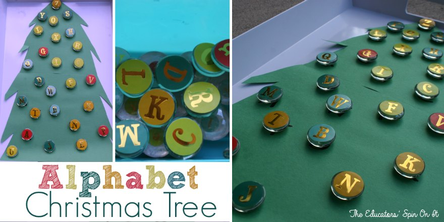 Alphabet Christmas Tree with stickers and glass gems