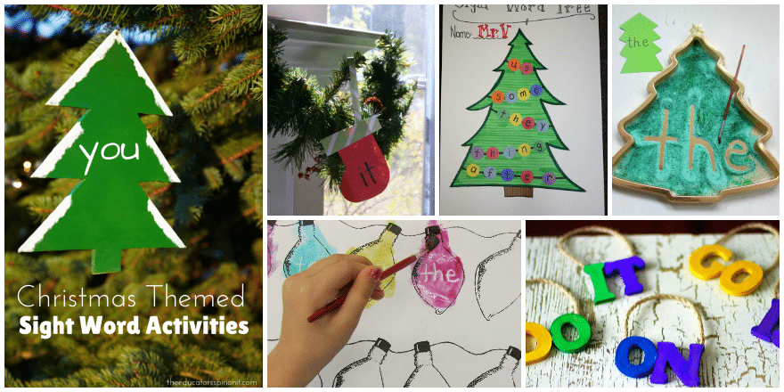 Christmas Themed Sight Word Activities for Kids featured at The Educators' Spin On It