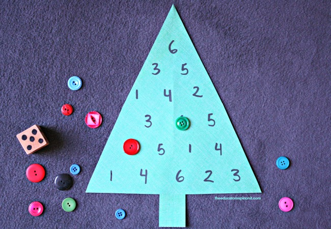 Fun Math Games with Christmas trees to practice number identification, counting, number sense and addition.