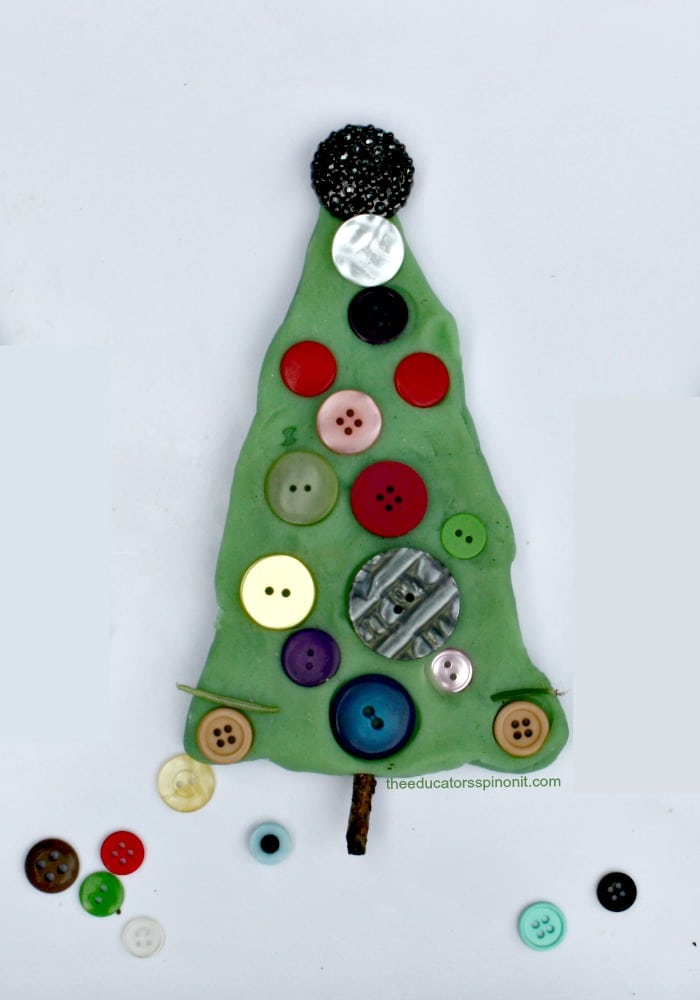 A Super Cute Playdough Christmas Tree Crafts for Kids: Easy to set up - Fun to make!
