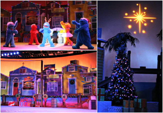 Elmo and Friends at SeaWorld's Christmas Celebration with a family a 4. A must-see experience for the holiday season!