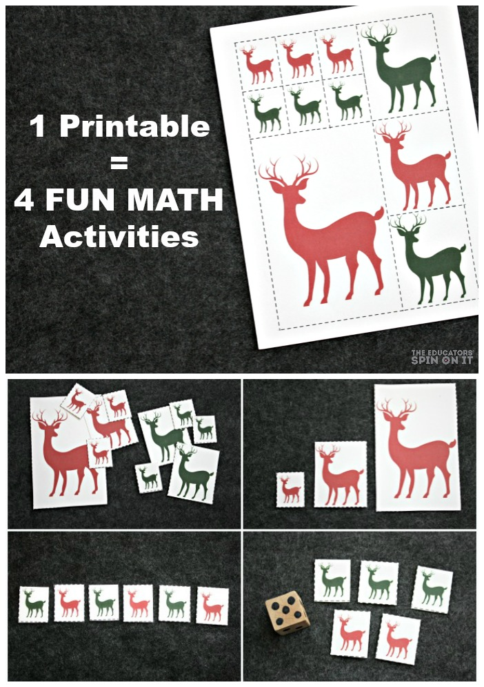FUN reindeer math games for preschool: Sorting, Ordering by Size, Comparing, Patterning, and Number Sense