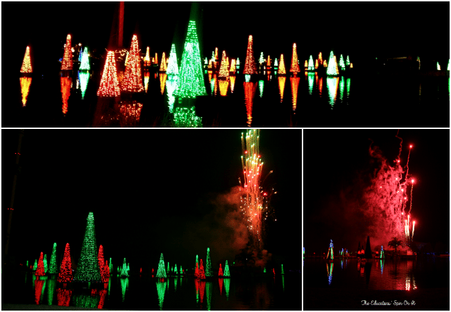 Fireworks and Fountain Show at SeaWorld's Christmas Celebration with a family a 4.  A must-do experience for the holiday season!