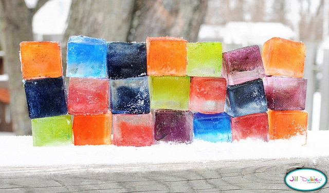 Colored Ice Blocks for Winter Science Fun