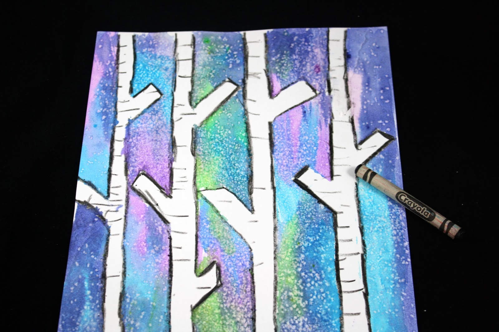 Birch tree painting crayon outline.