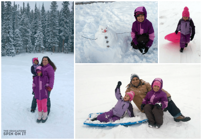 The Vij Family Sledding Winter Fun at The Educators' Spin On It