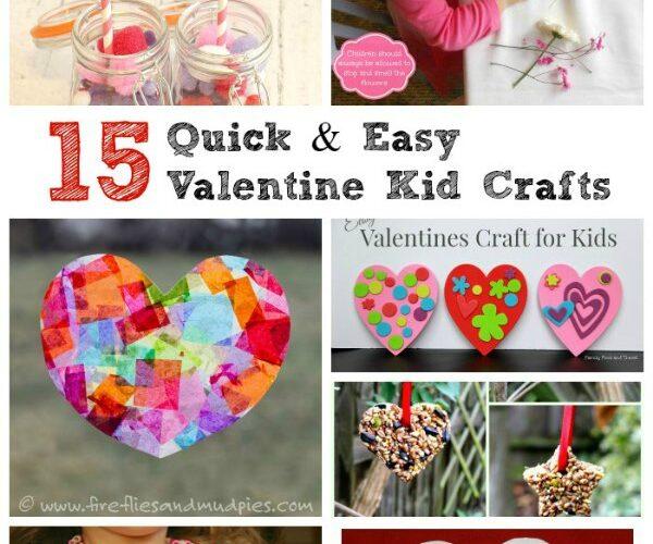 Easy Valentine Kids Crafts with heart crafts