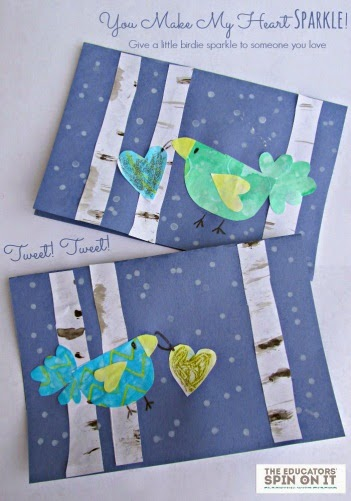 """Winter bird themed Valentine with printable saying """"You make my heart sparkle"""""""