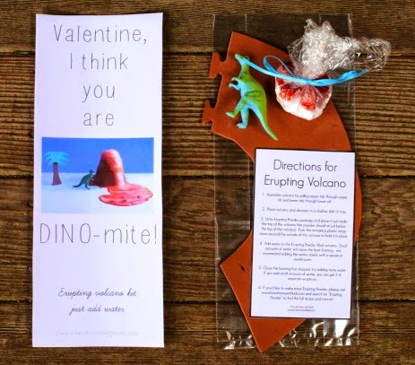 """Dinosaur themed valentine with printable saying """"Valentine, I think you are DINO-mite!"""""""