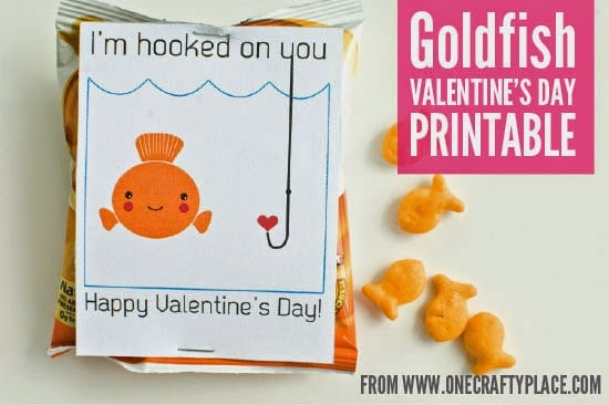 """Goldfish themed valentine with printable saying """"I'm hooked on you. Happy Valentine's Day"""""""