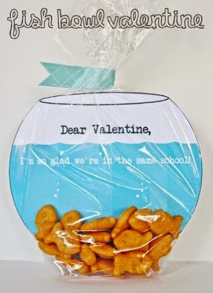 """Goldfish themed valentines with printable saying """"Dear Valentine, I'm so glad we're in same school."""""""
