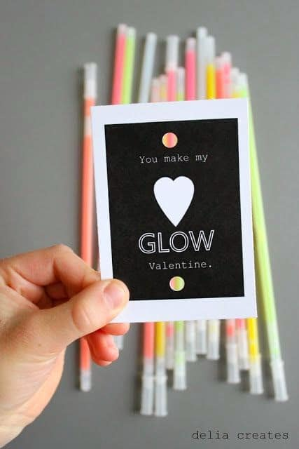 """Glow in the Dark themed Valentine with printable saying """"You make my heart glow valentine."""""""