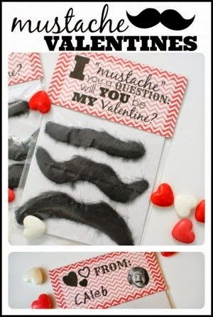 """Mustache theme Valentine with printable saying """"I mustache you a question: will you be my valentine?"""""""