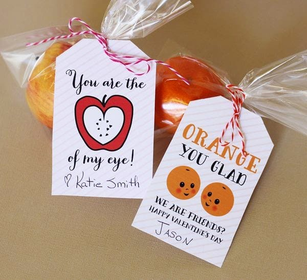 """Fruit themed valentines with sayings """"You are the apple of my eye"""" and """"Orange you glad we are friends?"""""""
