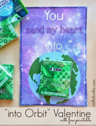 """Space themed valentines with printable saying """"You send my heart into orbit"""""""