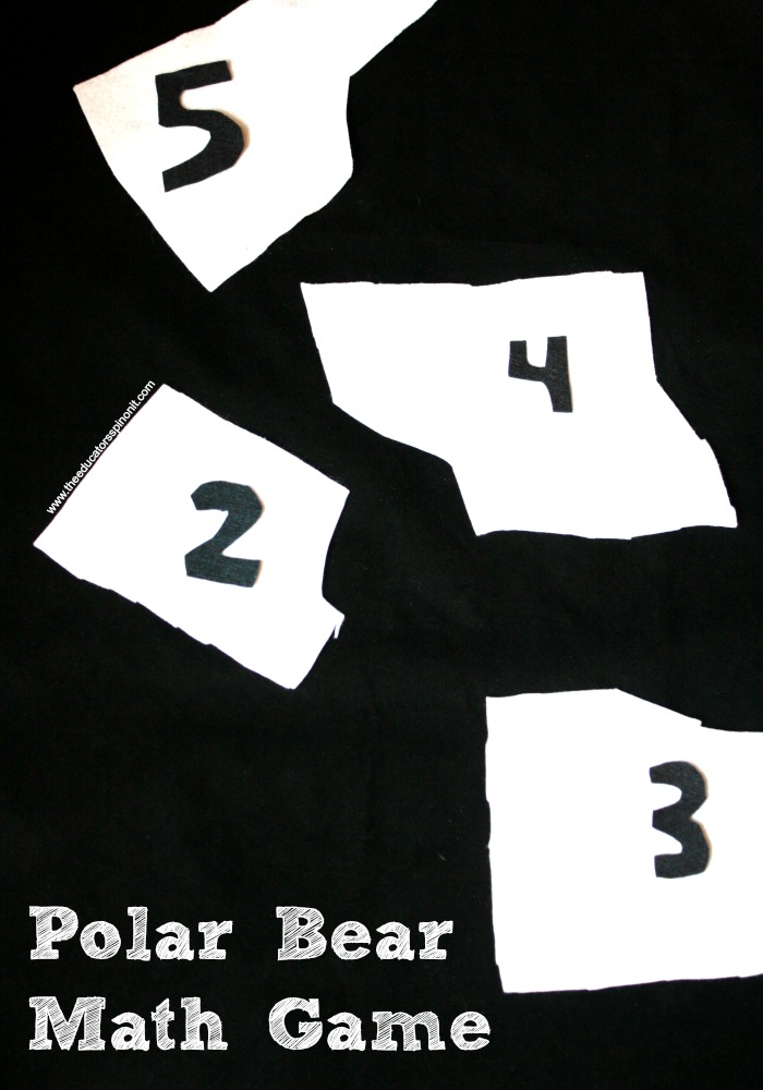 Polar Bear Math Game with Iceberg Numbers on White Felt