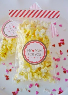 """Popcorn Themed Valentine with printable saying """"My Heart pops for you"""""""
