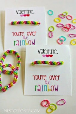 """Rainbow themed Valentine with printable saying """"Valentine you're over the rainbow"""""""