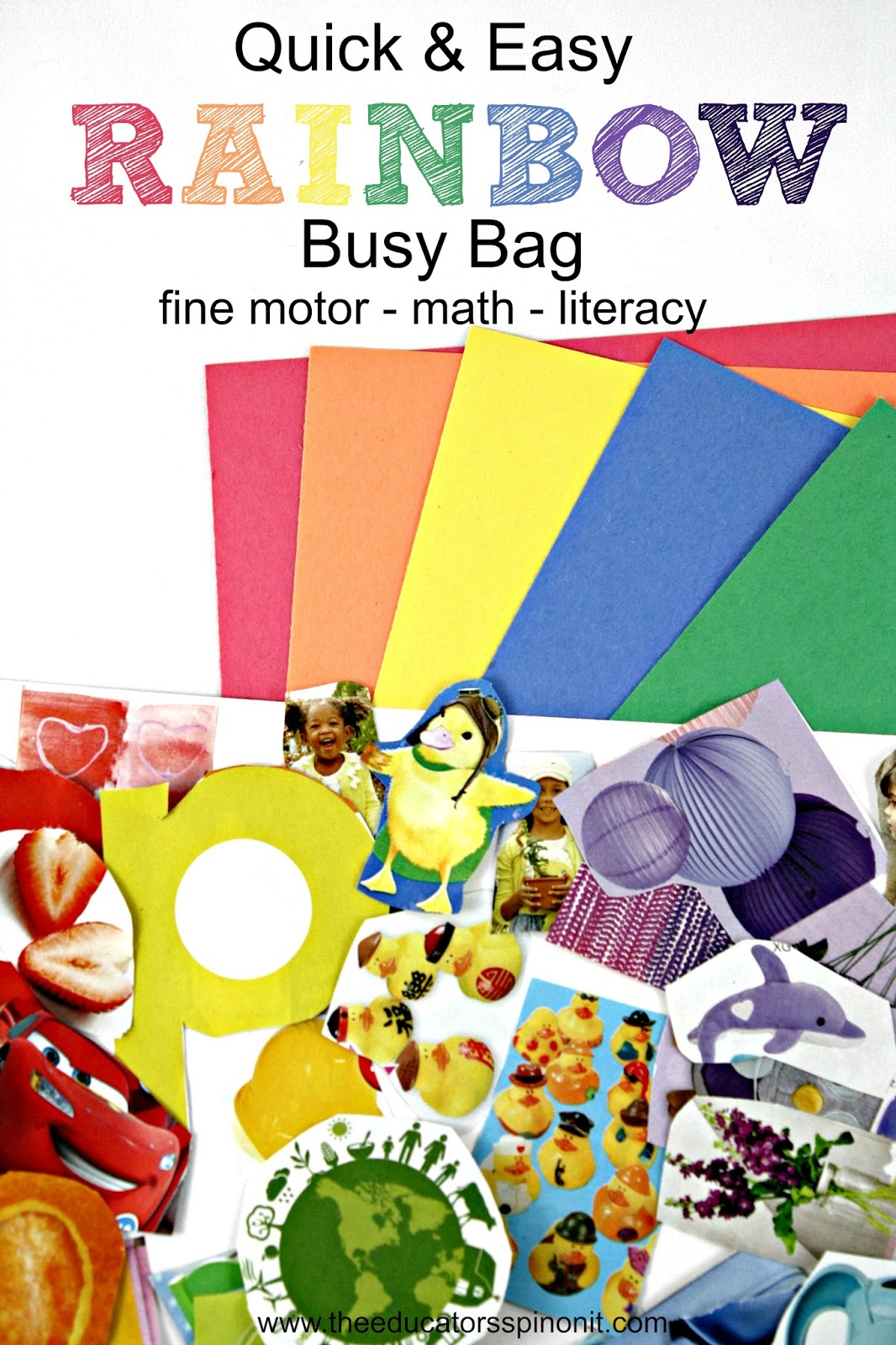 The best Rainbow Busy Bag ever, great for fine motor, math, and literacy.