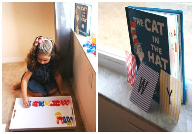 Cat in the Hat Letter Game using Plastic Letters for Preschoolers.