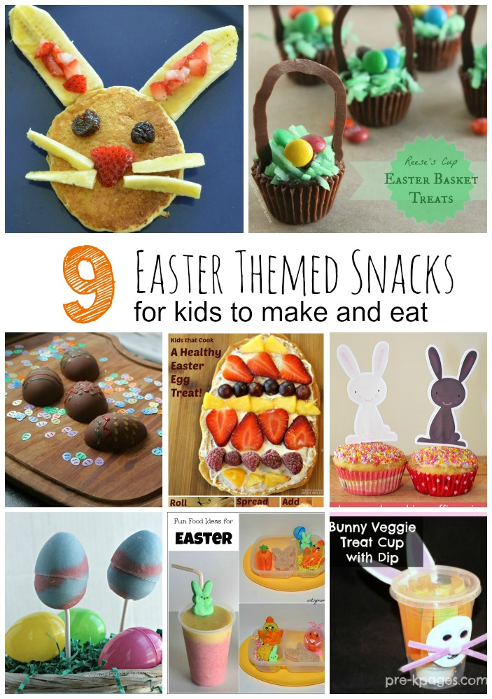Easter Snacks for Kids to make and eat: Bunny pancakes, easter basket treets, bunny treat cup and more!