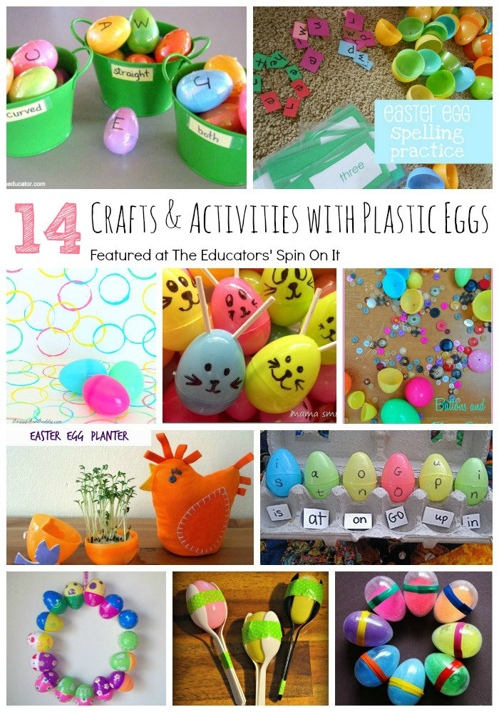 14 Really Cool Crafts and Learning Activities to do with plastic eggs. A great way to re-use your Easter eggs for play and learning!