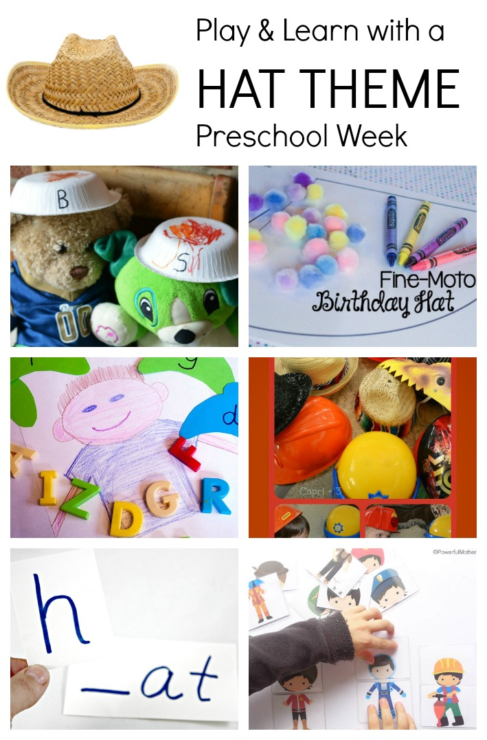 Play and Learn with a HAT theme preschool week. Letter matching hats, hat crafts, beginning sound hats and more!