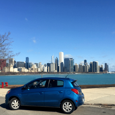 Driving a Mitsubishi Mirage in the Big City