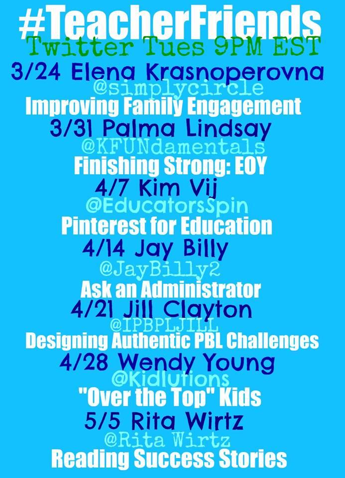 #TeacherFriends Chat Schedule for Twitter