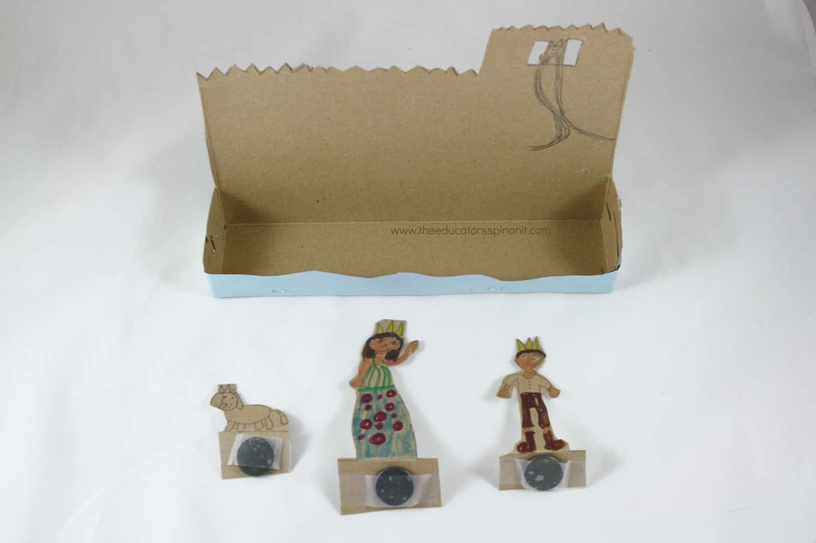 Sample cereal box castle theater and magnetic character puppets.