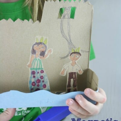 Magnetic Cereal Box Castle Theater | A Science & Literacy Activity for Kids