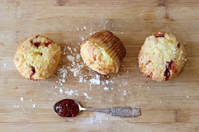 Orange Strawberry Jam Surprise Muffins