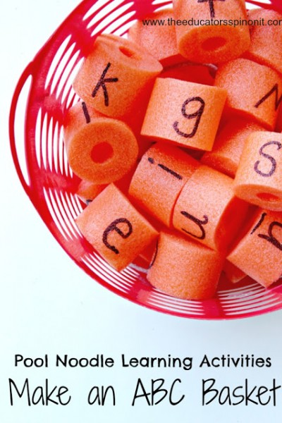 Pool Noodle Alphabet Basket. A fun pool noodle game idea for kids