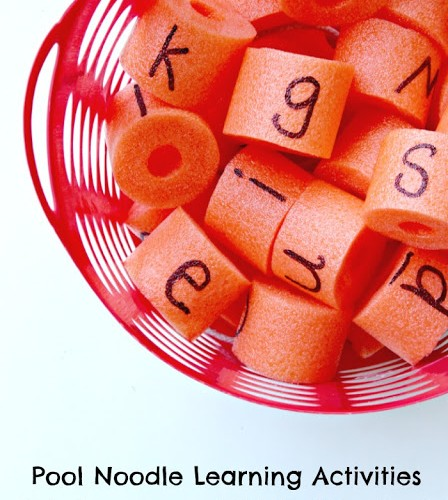 Make a Pool Noodle Alphabet Basket for Learning Letters