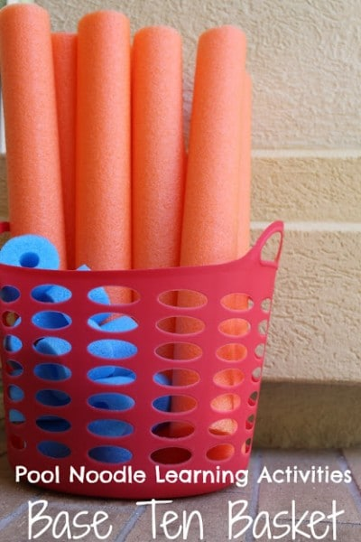 Pool noodles cut to fit into Base Ten Basket