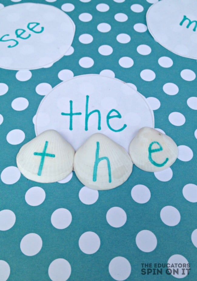 Sight Word Game for Kids with Sea Shells