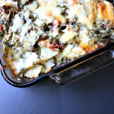 Kale, Potato, and Bacon Toscana Scalloped Potatoes