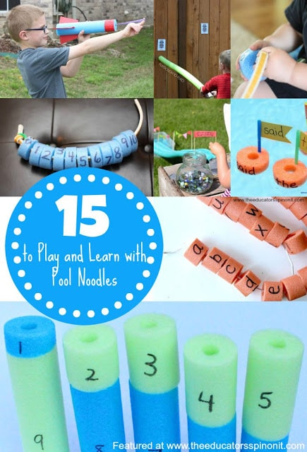 Play and learn with pool noodles. Kids activities for learning the alphabet, engineering activities for kids, math fun, addition, letters, crafting and more!