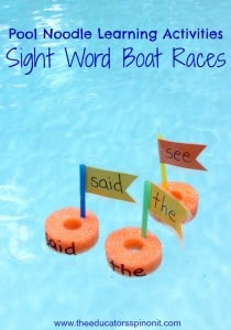 Boats made from pool noodles for a sight word game for kids