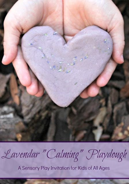 Lavender playdough - a calming sensory invitation for kids of all ages.
