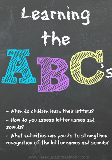 Learning the letter names and sounds is a very important part of early childhood learning. Here are some hands-on ways to practice letters and assess children for alphabet knowledge
