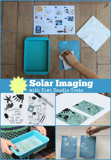 Solar Imaging, Cyanotypes, with Kiwi Doodle Crate, a monthly subscription box that brings creativity to your doorstep. Geared for ages 9+