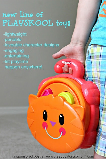 These toys are      lightweight      portable New line of PLAYSCHOOL Toys that have lovable character designs, engaging, entertaining, and let playtime happen anywhere!