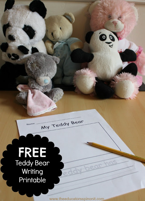 Very Cute Teddy Bear Writing Activity for Kids